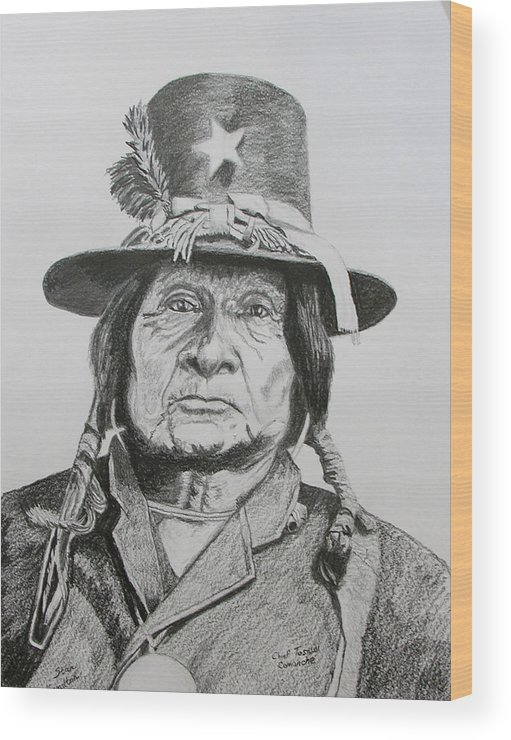 Comanche Chkief Wood Print featuring the painting Tosawi Comanche Chief by Stan Hamilton