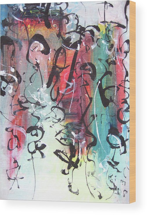 Abstract Landscape Painting Wood Print featuring the painting Abstract Calligraphy by Seon-jeong Kim