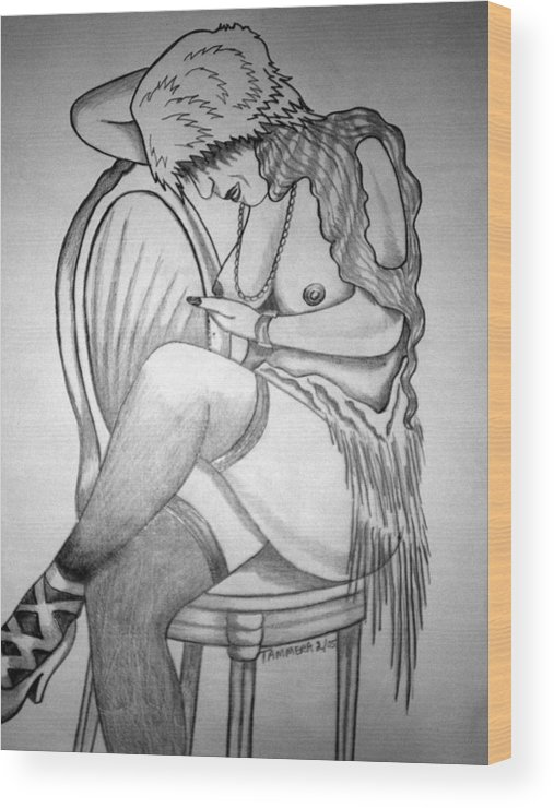 Deco Wood Print featuring the drawing 1920s Women Series 11 by Tammera Malicki-Wong