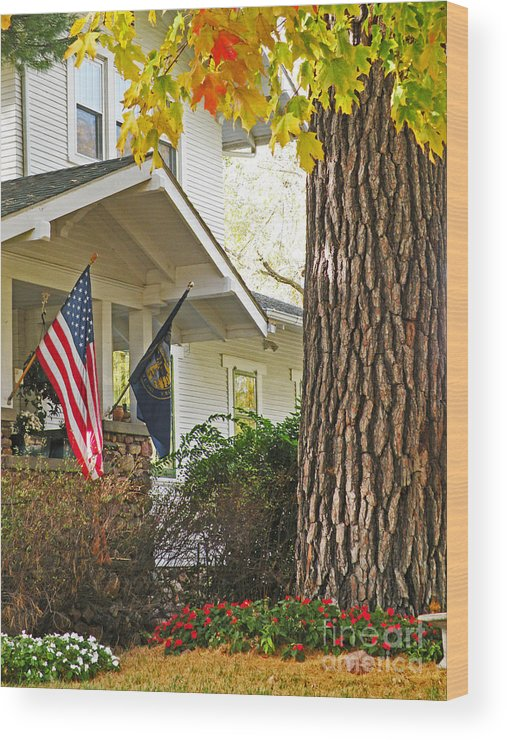 Fall Wood Print featuring the photograph Autumn In Small Town America by Christine Belt