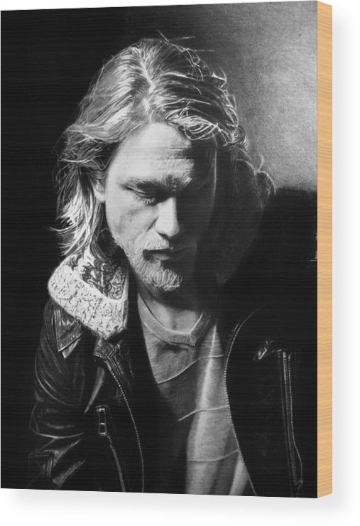 Charlie Hunnam Jackson 'jax' Teller Sons Of Anarchy Pencil Black And White Portrait Fan Art Wood Print featuring the drawing Charlie Hunnam by Stan Antonio