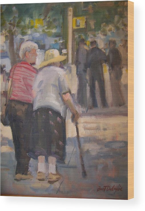 2 Ladies Walking In Ny. Wood Print featuring the painting 2 Ladies In Ny by Bart DeCeglie
