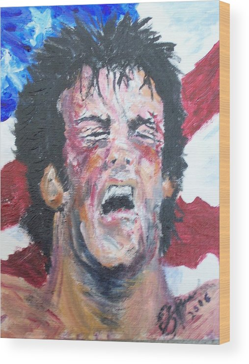Stallone Wood Print featuring the painting Rocky by Francis Bourque