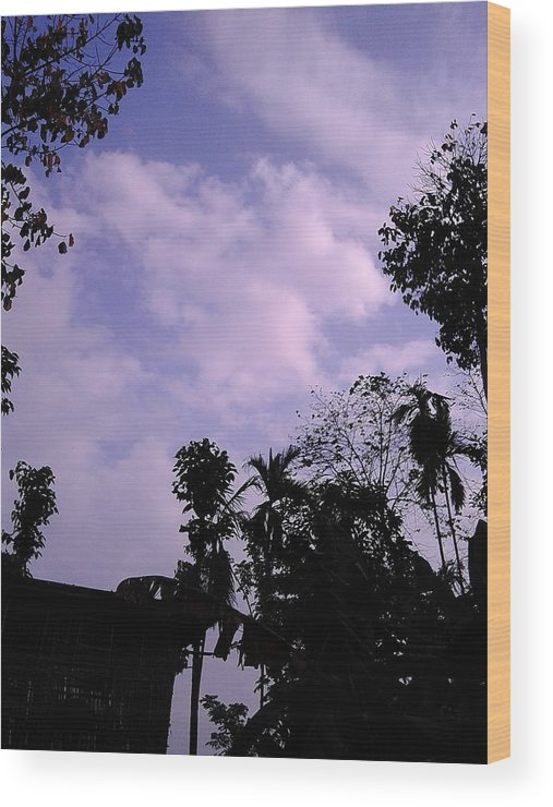 Happy Sky Wood Print featuring the photograph Bordoloi by Jayanta Bordoloi