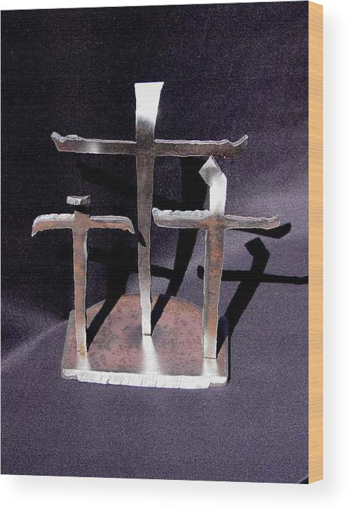 God Wood Print featuring the sculpture 3 Gifts Sold  by Steve Mudge