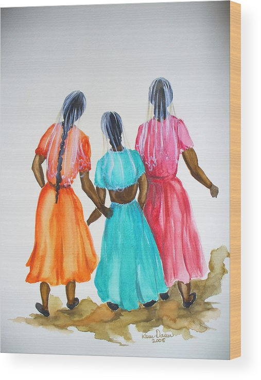 Three Ladies East Indian Wood Print featuring the painting 3bff by Karin Dawn Kelshall- Best