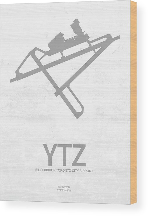 Silhouette Wood Print featuring the digital art Ytz Billy Bishop Toronto City Airport In Toronto Canada Runway S by Jurq Studio