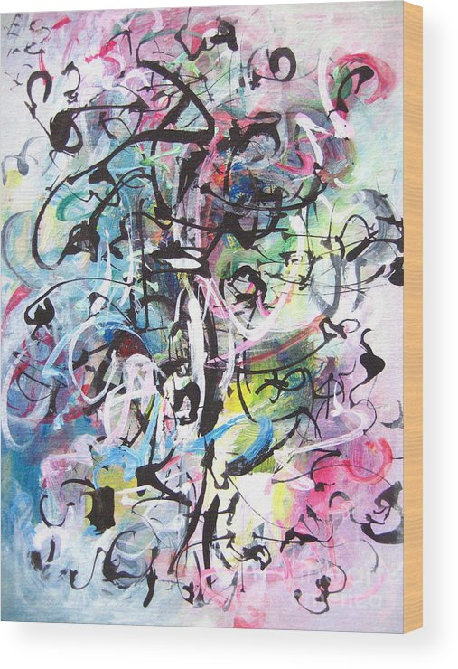 Abstract Landscape Painting Wood Print featuring the painting Abstract Expressionsim Art by Seon-jeong Kim