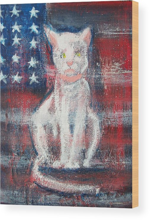 Patriotic Abstract Wood Print featuring the painting 4th Of July Baby by Roxanna Finch