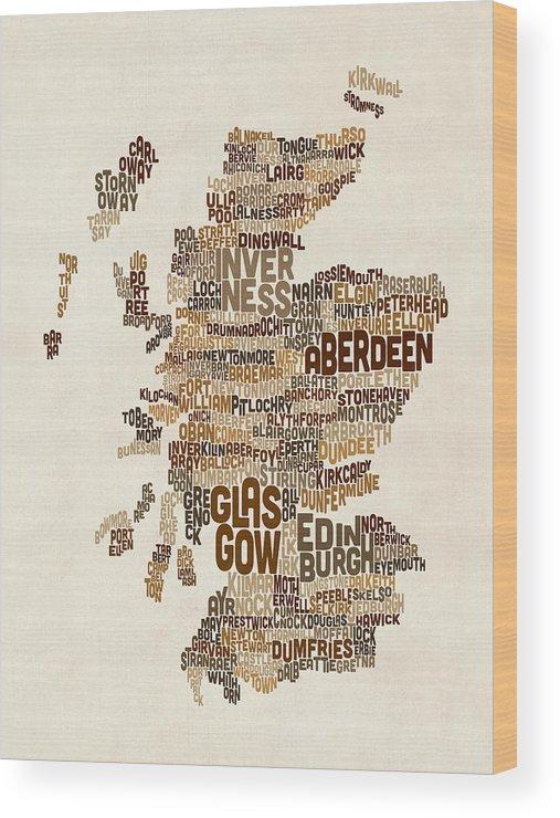 Map Art Wood Print featuring the digital art Scotland Typography Text Map by Michael Tompsett