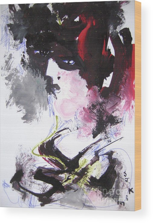 Sjkim Art Wood Print featuring the painting Abstract Figure Art by Seon-jeong Kim