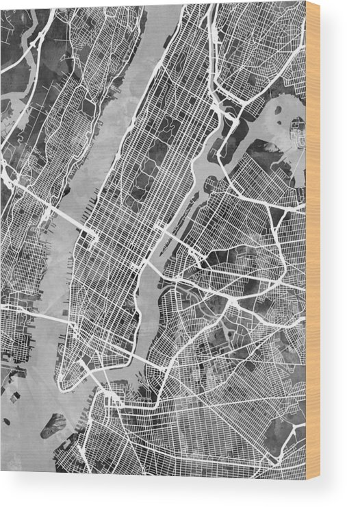 Street Map Of New York City.New York City Street Map Wood Print By Michael Tompsett