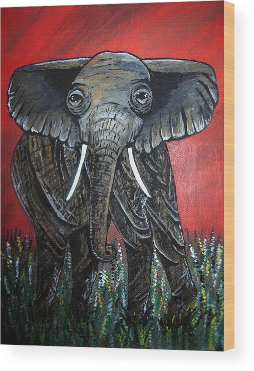Elephant Wood Print featuring the painting A Crimson Kind Of Day by Sharon Supplee