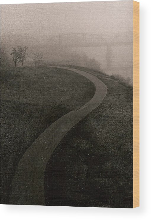 Black-white Wood Print featuring the painting A Dark Widing Road by Arnold Isbister