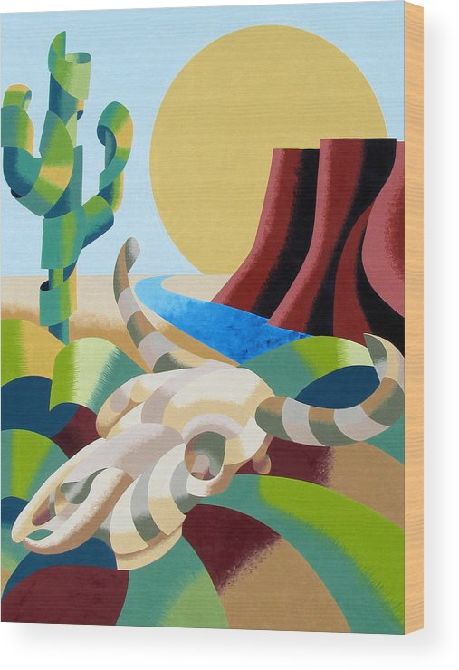 Bull Wood Print featuring the painting Abstract Futurist Soutwestern Desert Landscape Oil Painting by Mark Webster