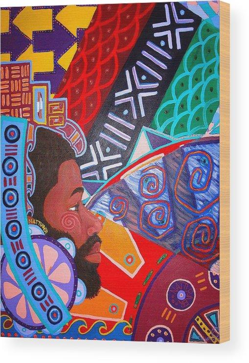 Malik Seneferu Wood Print featuring the painting Aesthetic Ascension1 by Malik Seneferu