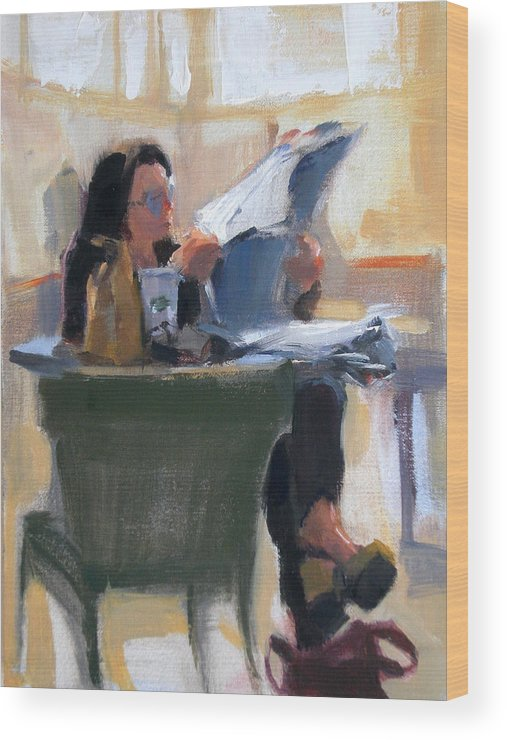 Figurative Wood Print featuring the painting Afternoon Coffee Break by Merle Keller