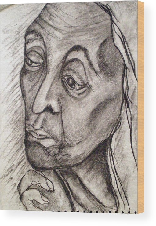 Woman Women Age Wisdom Old Portrait Portraits Wood Print featuring the drawing Age And Wisdom by Tammera Malicki-Wong