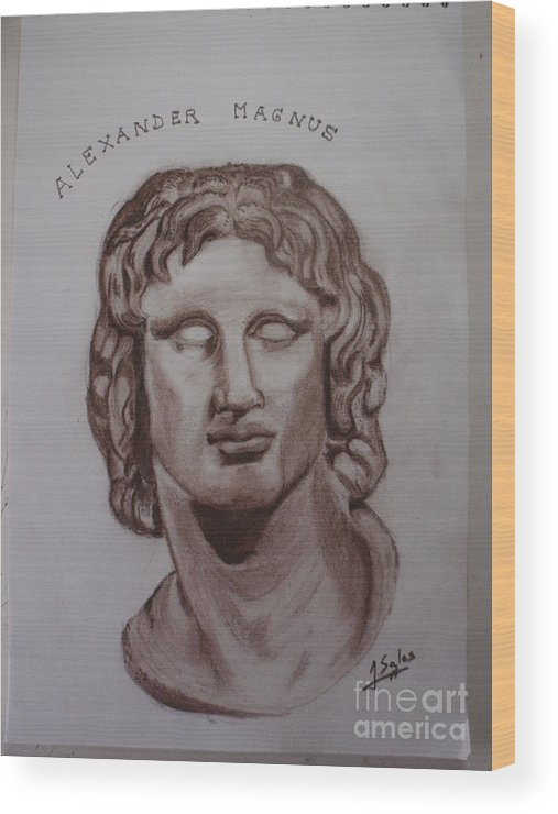 Alexander The Great Wood Print featuring the drawing Alexander The Great by Joaquin Sales