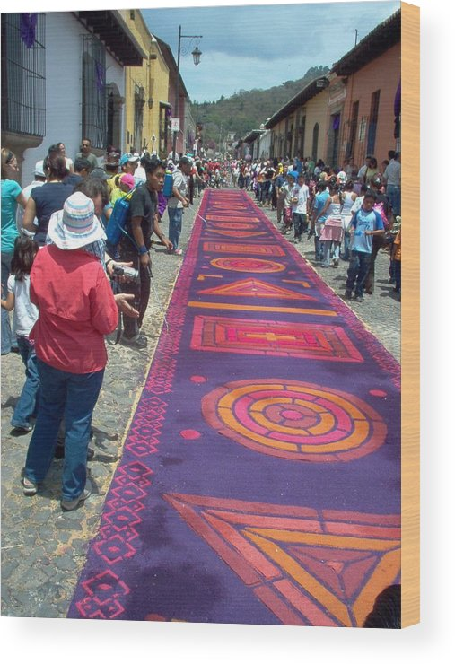 Guatemala Wood Print featuring the photograph Alfombra In Purples by Lauris Burns