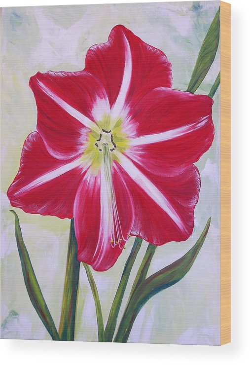 Flowers Wood Print featuring the painting Amaryllis by Murielle Hebert