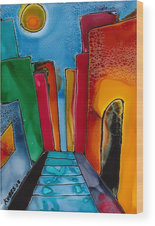 City Wood Print featuring the mixed media Ancient City by Susan Kubes