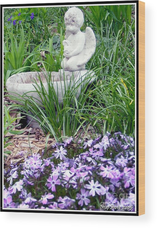 Angel Wood Print featuring the photograph Angel Garden by Emily Kelley