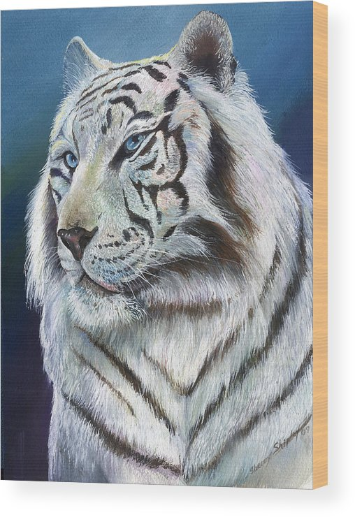Big Cat Wood Print featuring the painting Angel The White Tiger by Sherry Shipley