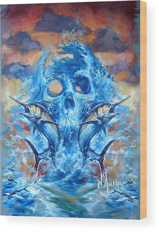 Marlin Wood Print featuring the painting Angler Heat II by Tom Dauria