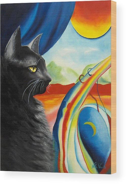 Surreal Cat Wood Print featuring the painting Any Time by Nela Vicente