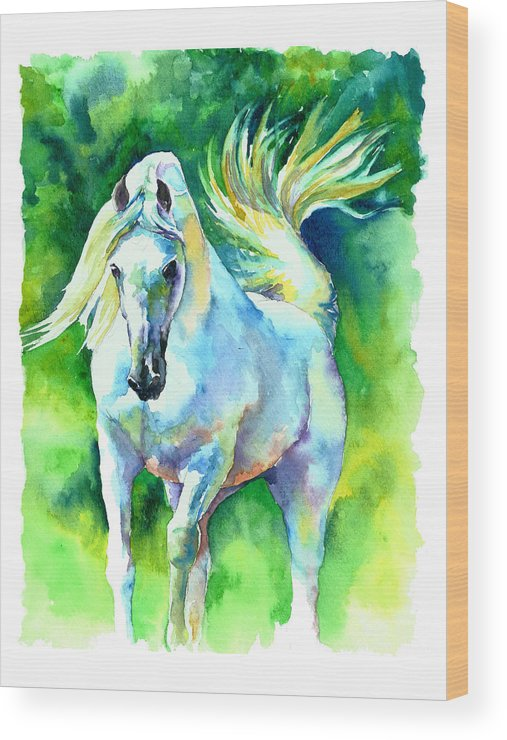 Arabian Horse Wood Print featuring the painting Arabian Stallion by Christy Freeman