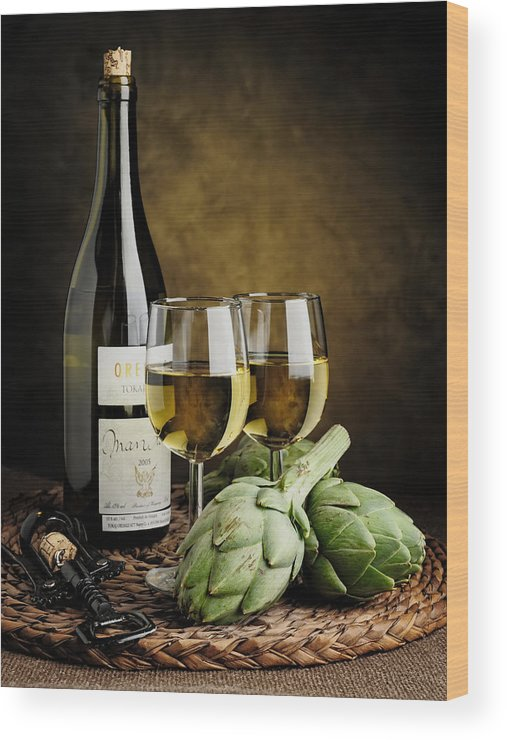 Artichokes Wood Print featuring the photograph Artichokes And Wine by Andriy Zolotoiy