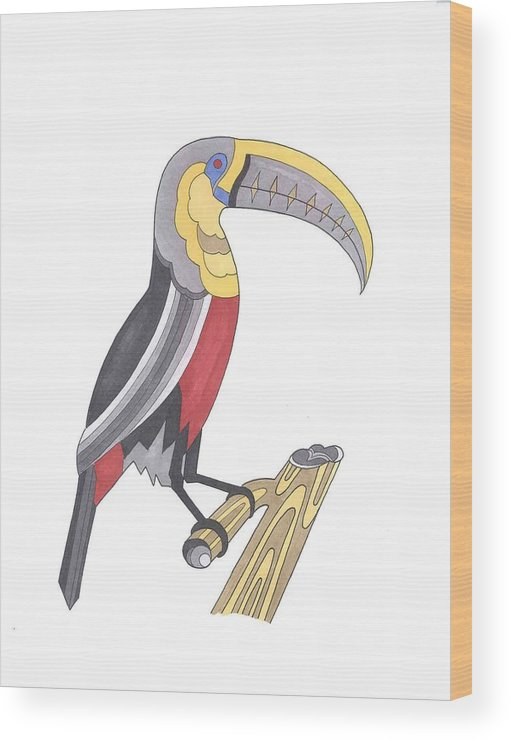 Toucan Wood Print featuring the mixed media Assignment 13 by David Seter