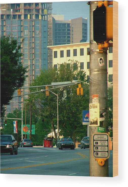 Streetscape Wood Print featuring the photograph Atlanta Street Scape by Donna Thomas
