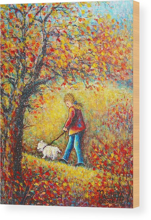 Landscape Wood Print featuring the painting Autumn Walk by Natalie Holland