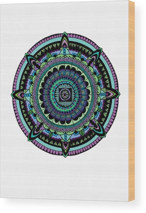Mandala Wood Print featuring the digital art Azteca by Elizabeth Davis