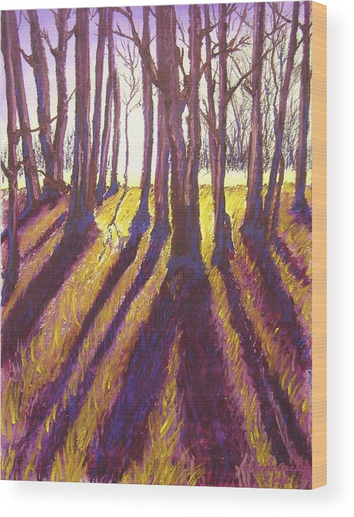 Trees Wood Print featuring the painting Back Lit Field by Wynn Creasy