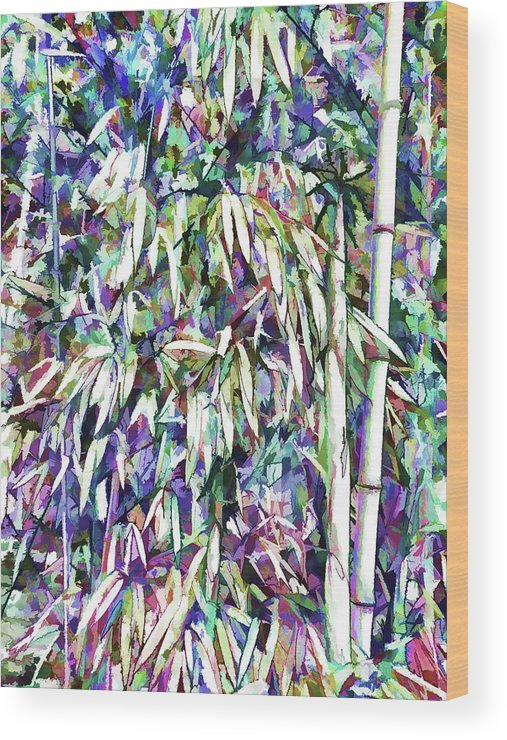 Bamboo Forest Background Wood Print featuring the painting Bamboo Forest Background by Jeelan Clark