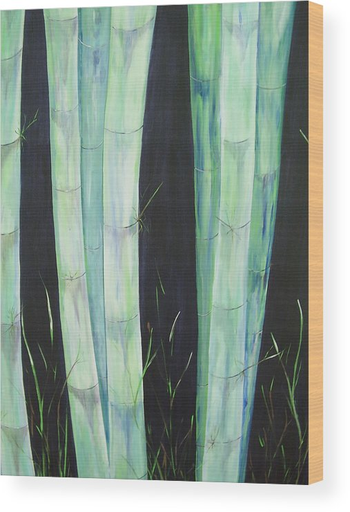 Bamboo Wood Print featuring the painting Bamboo by Murielle Hebert