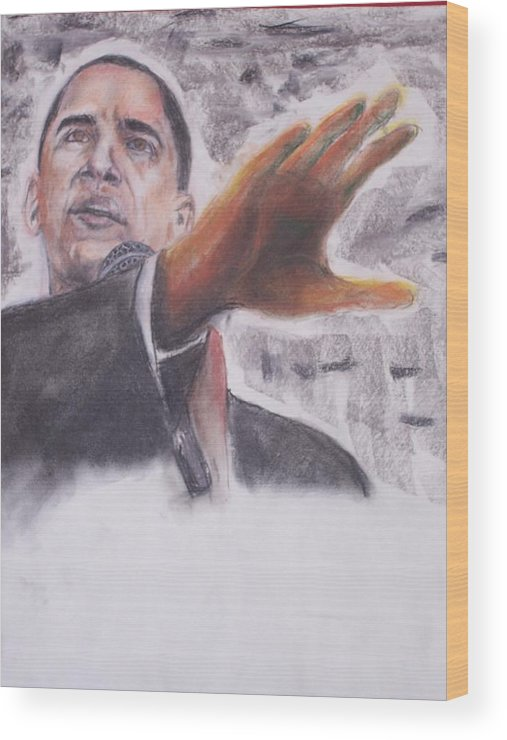 Bararck Wood Print featuring the painting Barack Obama by Darryl Hines
