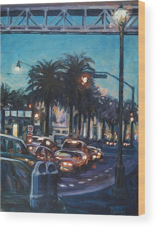 City Scape Wood Print featuring the painting Bay Bridge by Rick Nederlof