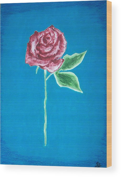 Rose Wood Print featuring the painting Beautiful Rose On Blue Background by Sanchia Fernandes