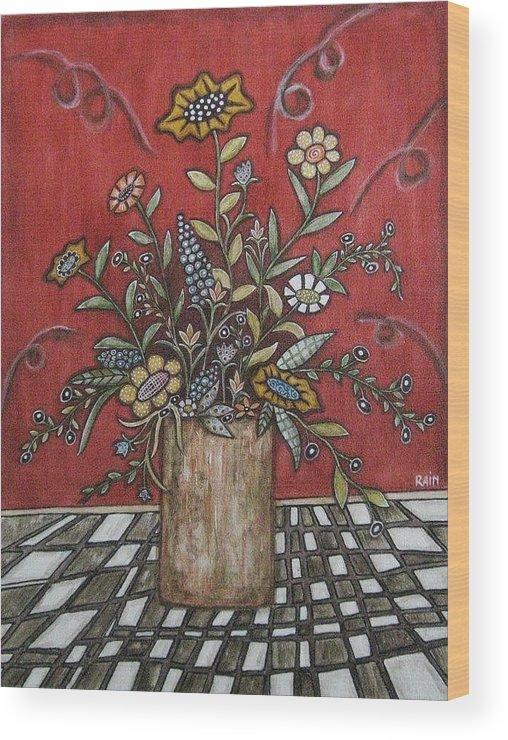 Folk Art Paintings Wood Print featuring the painting Beauty by Rain Ririn