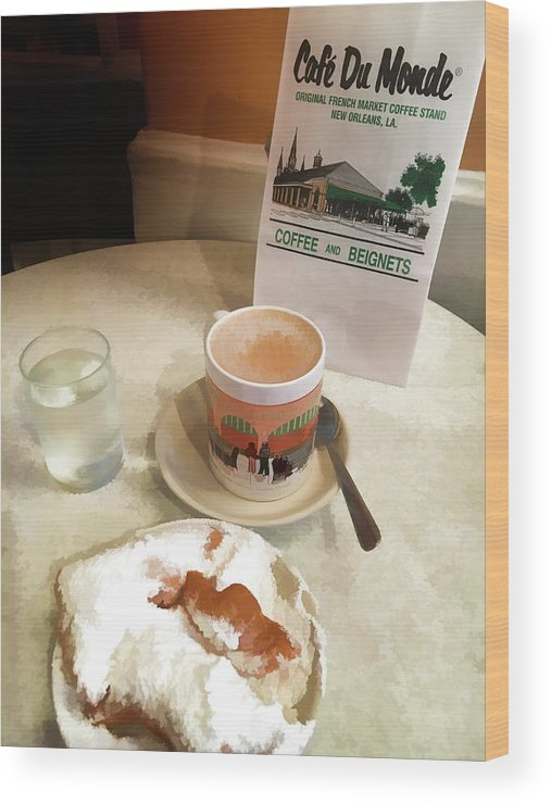 America Wood Print featuring the photograph Beignet And Coffee At Cafe Du Monde by Art Spectrum
