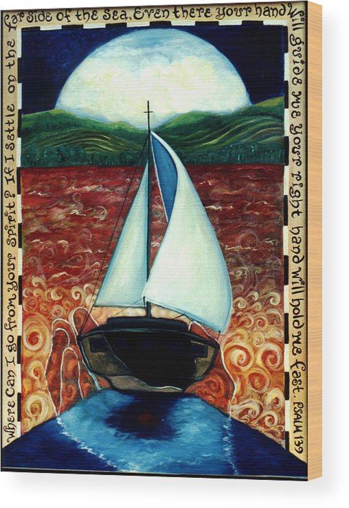 Sailboat Wood Print featuring the painting Beyond These Shores by Teresa Carter