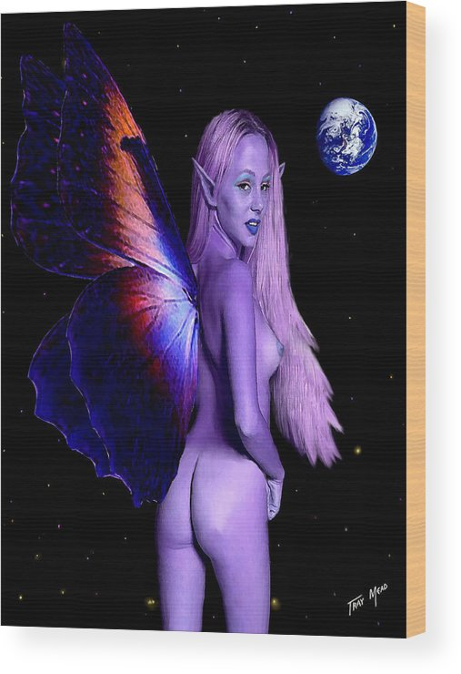 Erotic Wood Print featuring the painting Big Blue Marble by Tray Mead