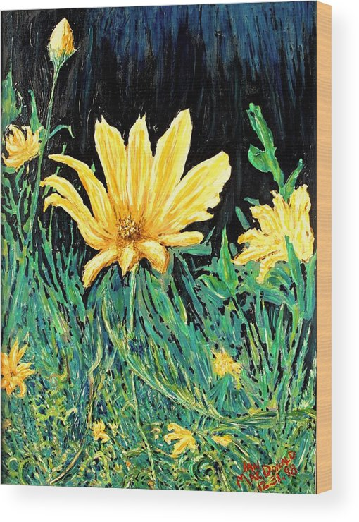 Flower Wood Print featuring the painting Big Yellow by Ian MacDonald