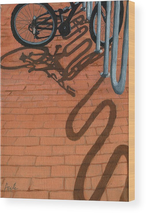 Bicycles Wood Print featuring the painting Bike And Bricks No.2 by Linda Apple
