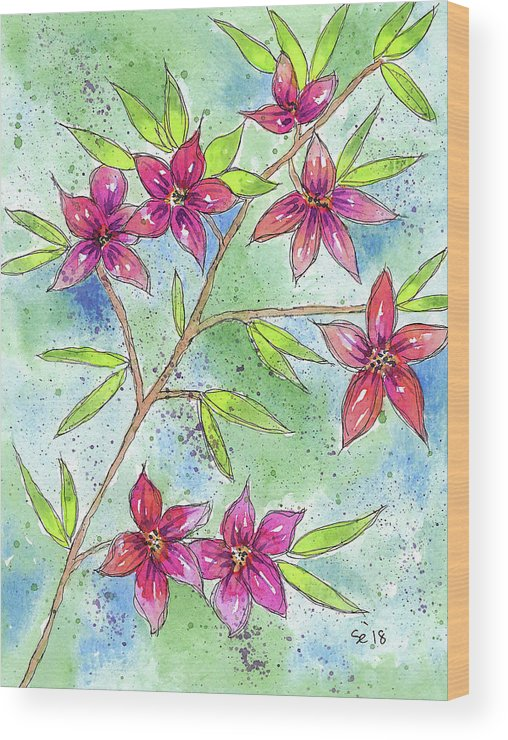 Watercolor And Ink Wood Print featuring the painting Blooming Flowers by Susan Campbell