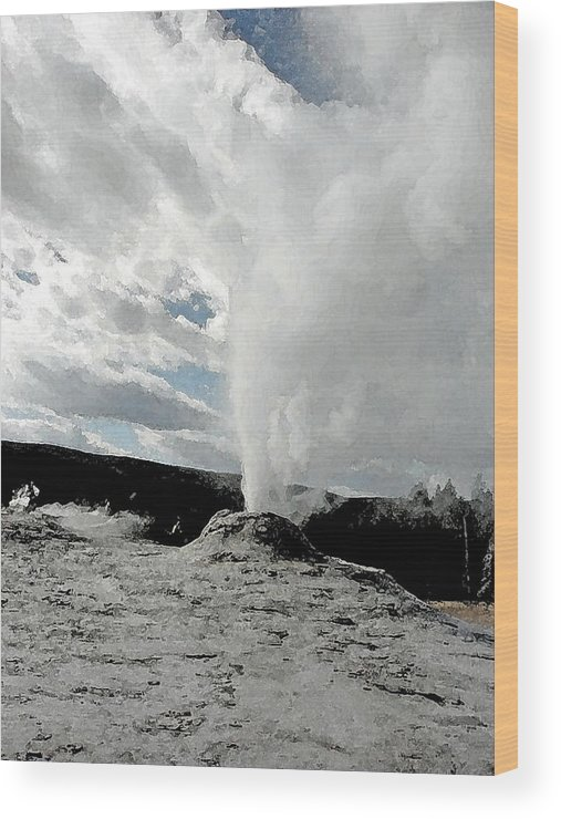Geyser Wood Print featuring the photograph Blowing Its Top by Laurie With